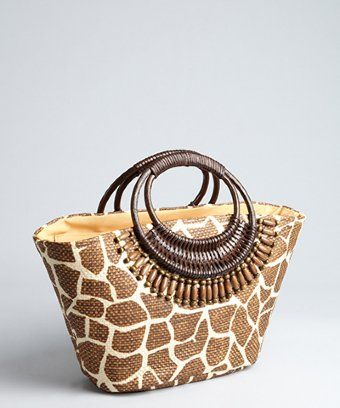 Cappelli Straw World : brown giraffe print straw 'Toyo' tote bag