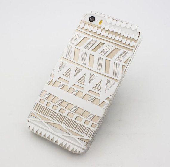 Handmade Apple iPhone 6 White Tribal Case Cover Hard Indian Tribal Henna Geometric White Design Native American Aztec Mayan Hippie Homemade iPhone Case