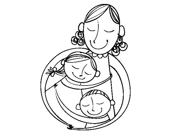 Resultado De Imagem Para Desenho De Mae E Filho Para Colorir Com
