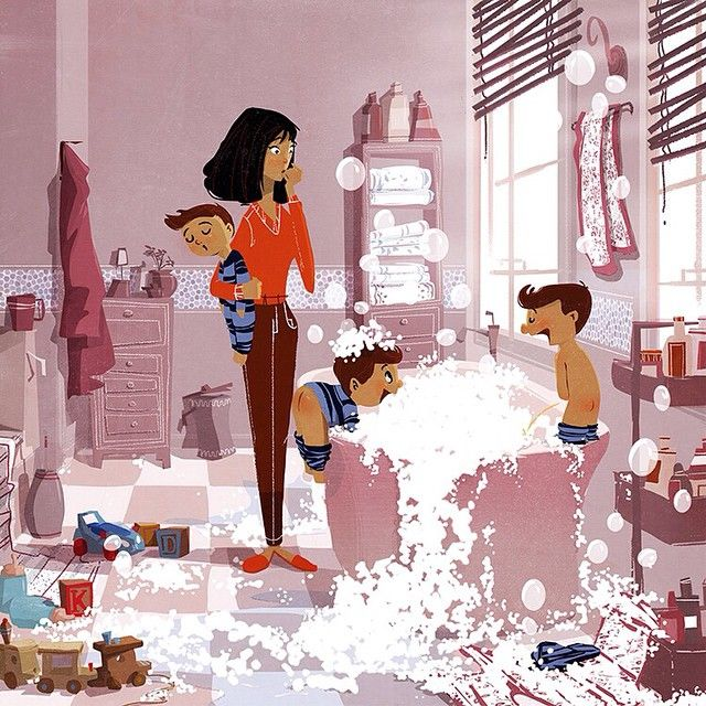 Another illustration for the Running Press book, written by @timfederle #illustration #bookillustration #triplets #mother #family #motherintrouble
