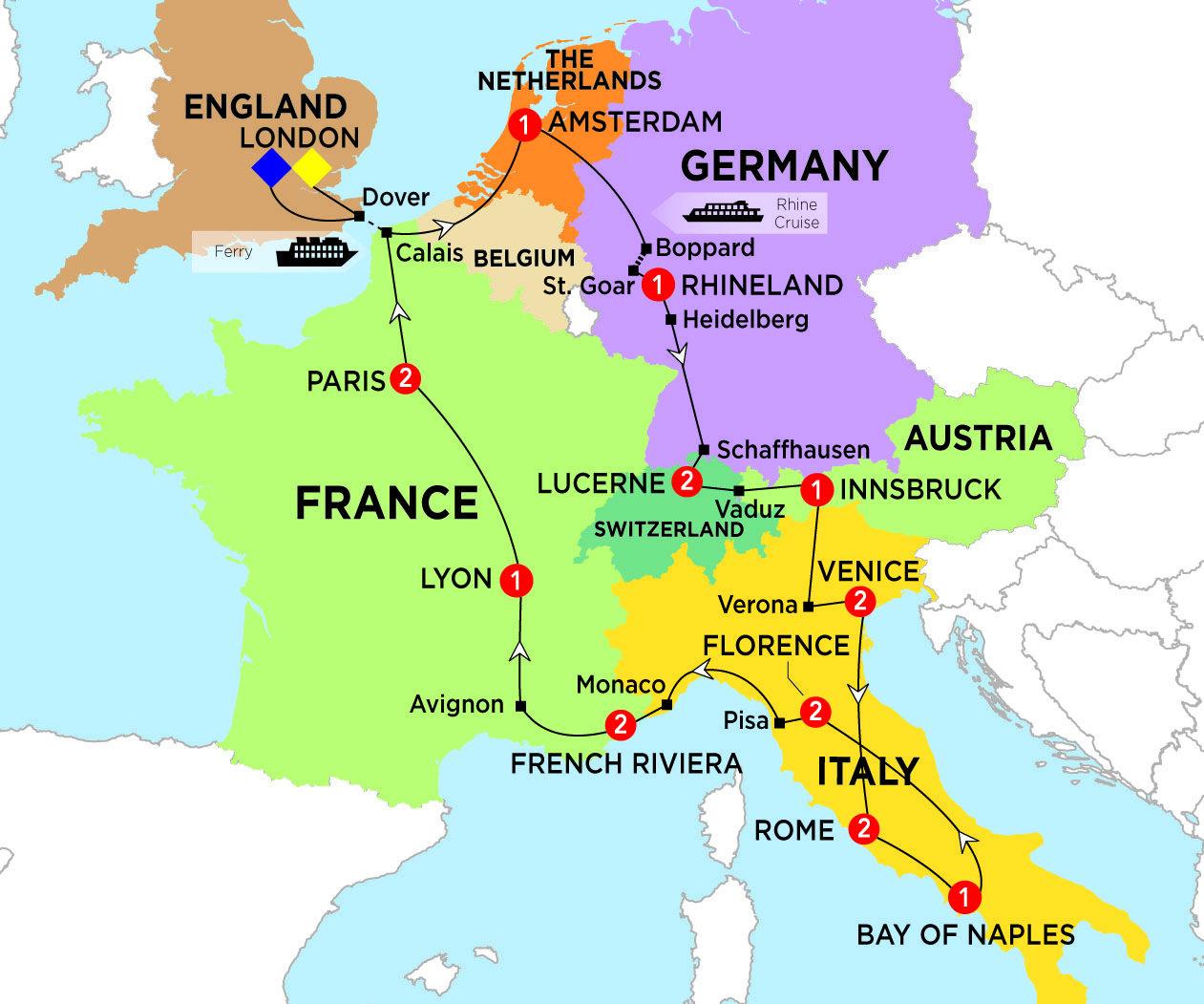 amsterdam on europe map Europe map | Rhineland, Europe map, Trafalgar
