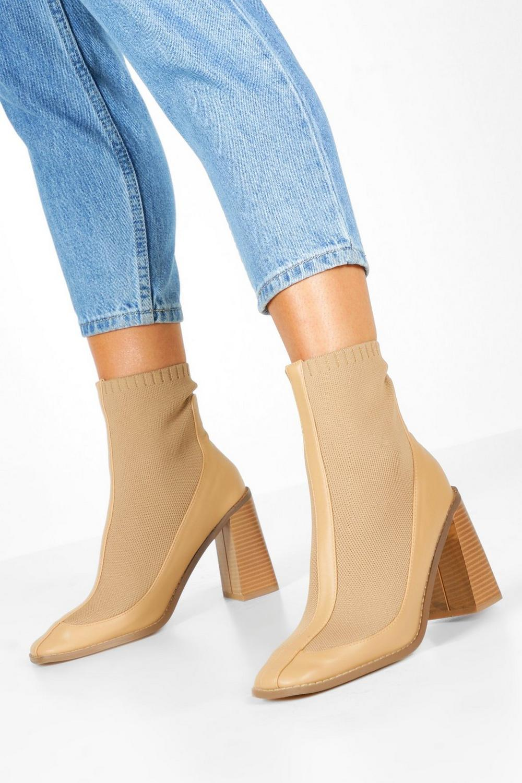 Knit Panel Block Heel Sock Boots