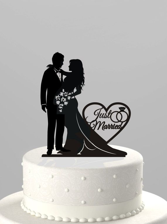 """wedding cake topper silhouette bride and groom with """"just married"""