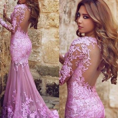 Mermaid v-neck lilac tulle appliques lace long sleeve prom dress, #020101852