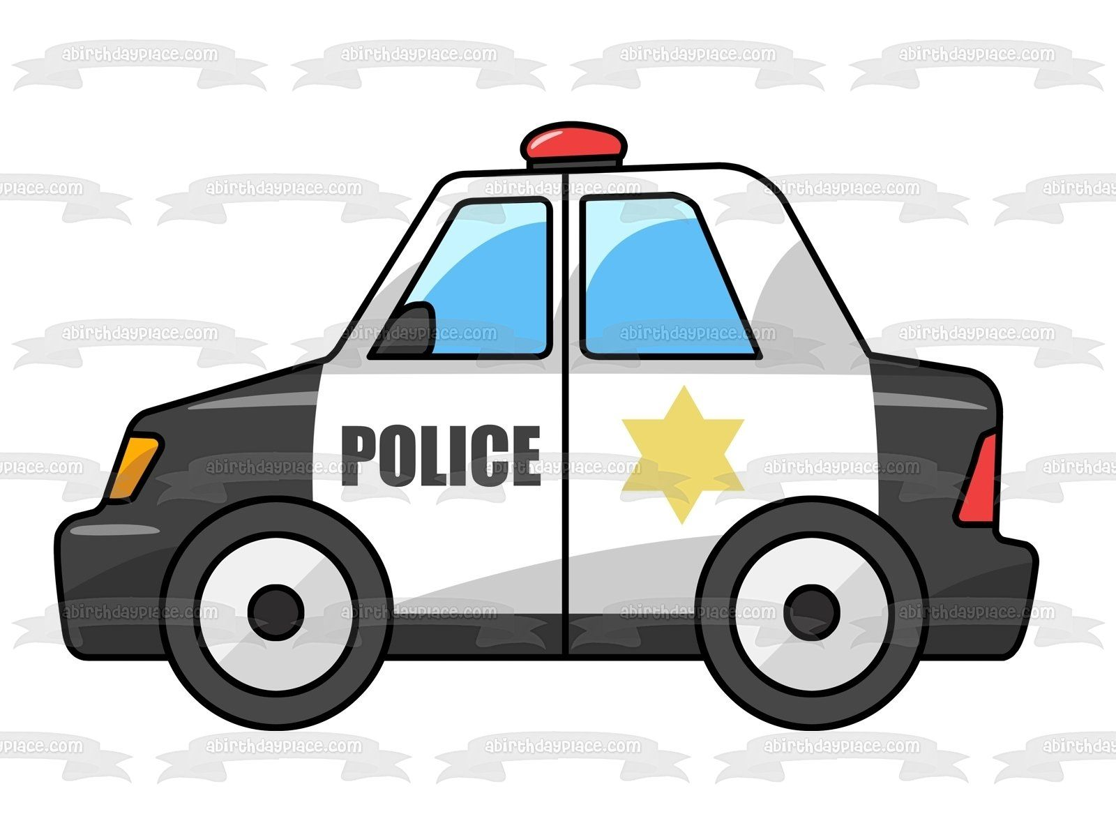 Cartoon Police Car Star Red Light Edible Cake Topper Image Abpid01663 In 2021 Art And Craft Videos Police Cars Police