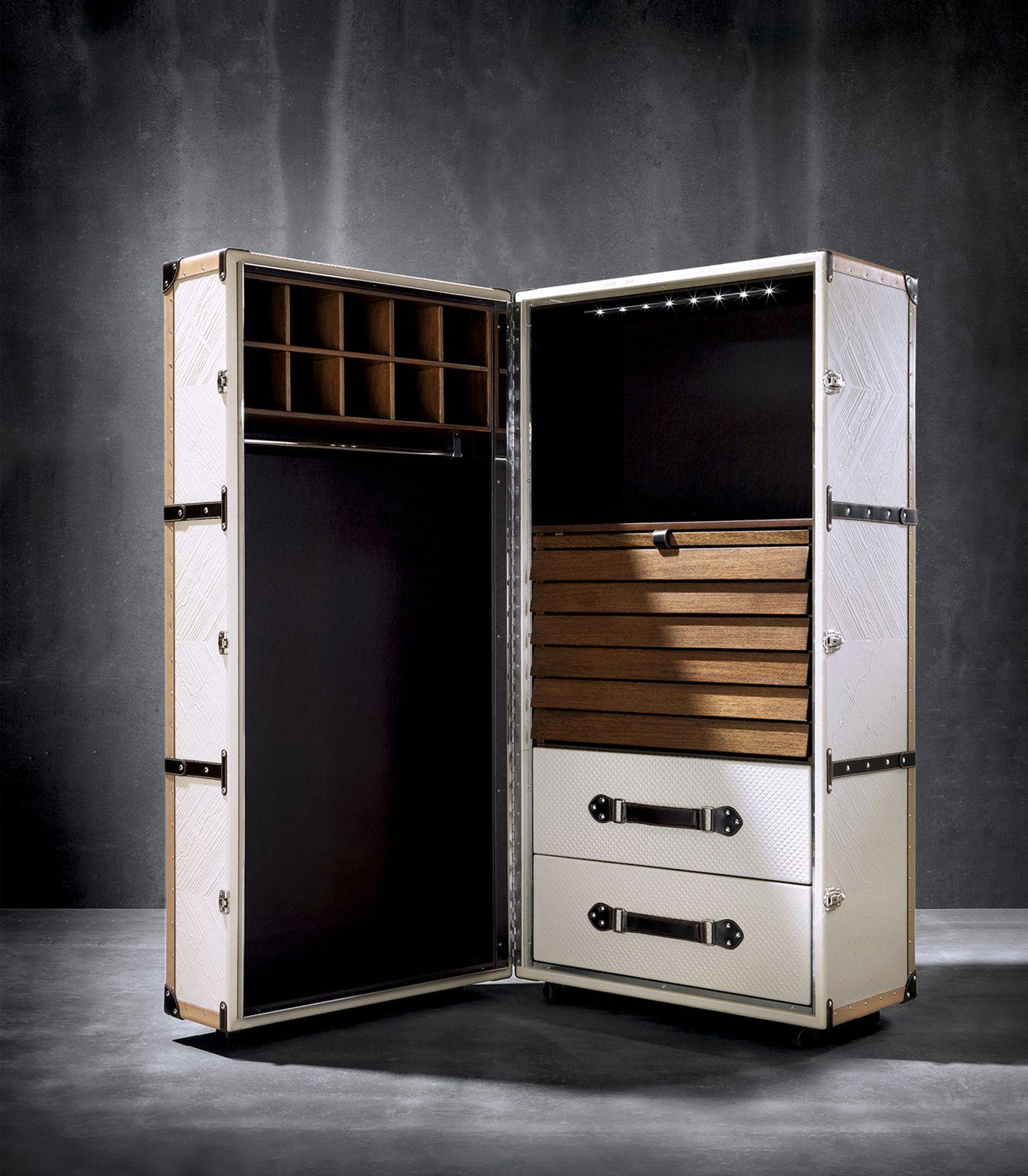 small wardrobe, trunk wardrobe, trunk, leather wardrobe, white trunk ...