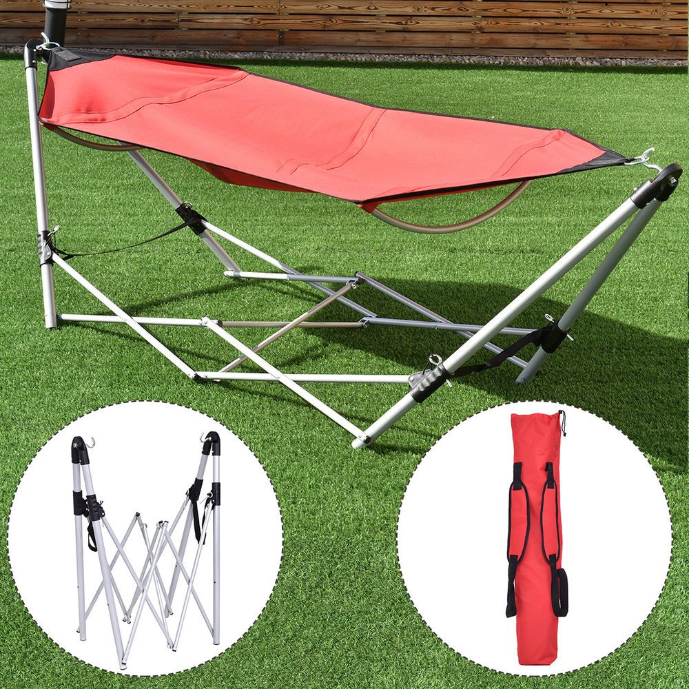 Red Portable Folding Hammock Lounge Camping Bed Steel Frame Stand W Carry Bag Ebay With Images Outdoor Hammock Folding Hammock Camping Bed