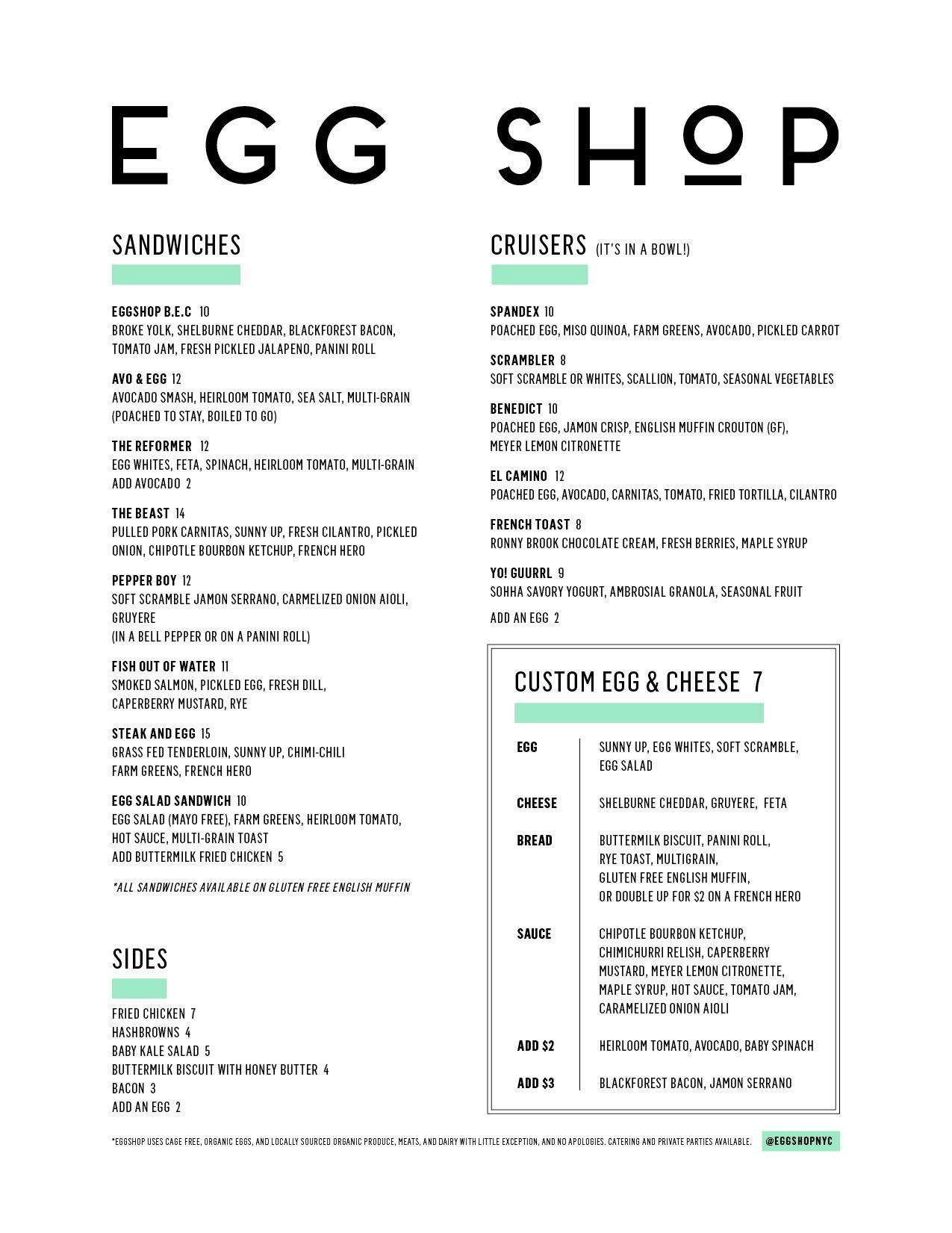 Egg Shop menu - look at these inventive breakfasts! Must go. | Menu ...
