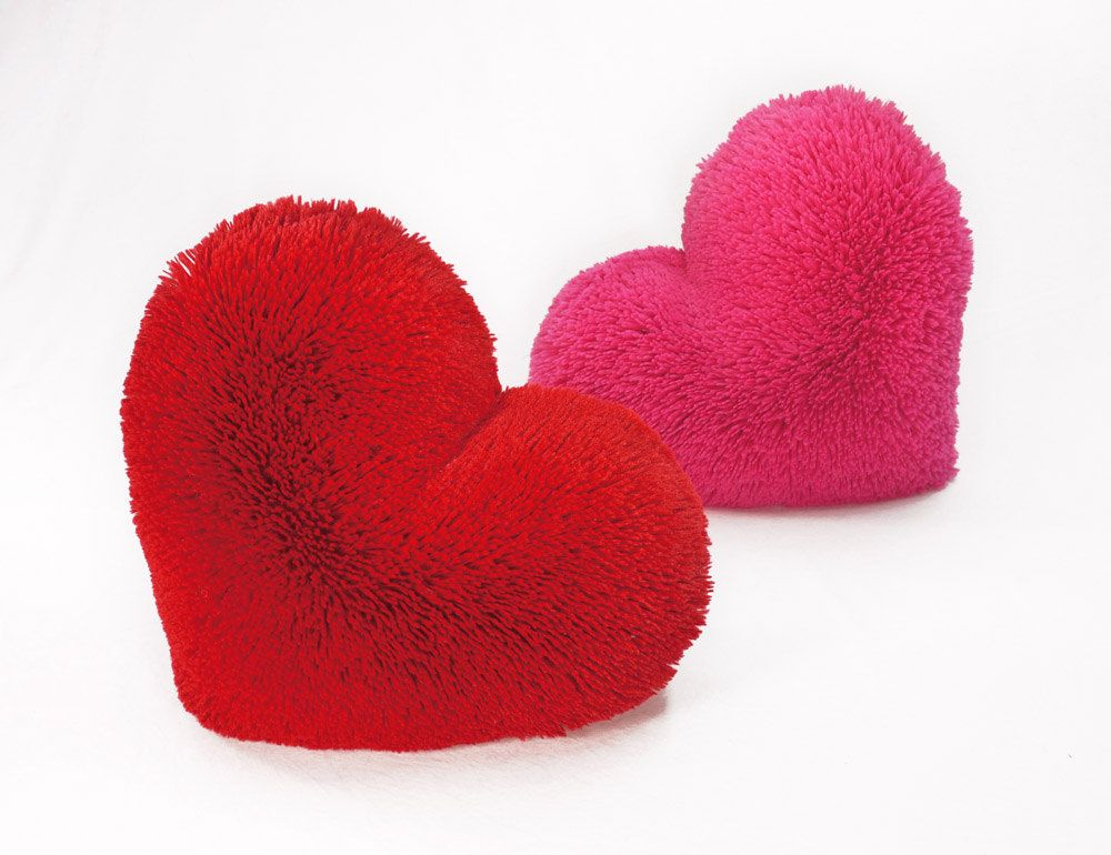 Fluffy Hot Pink Valentine Heart Shaped Decorative Pillow