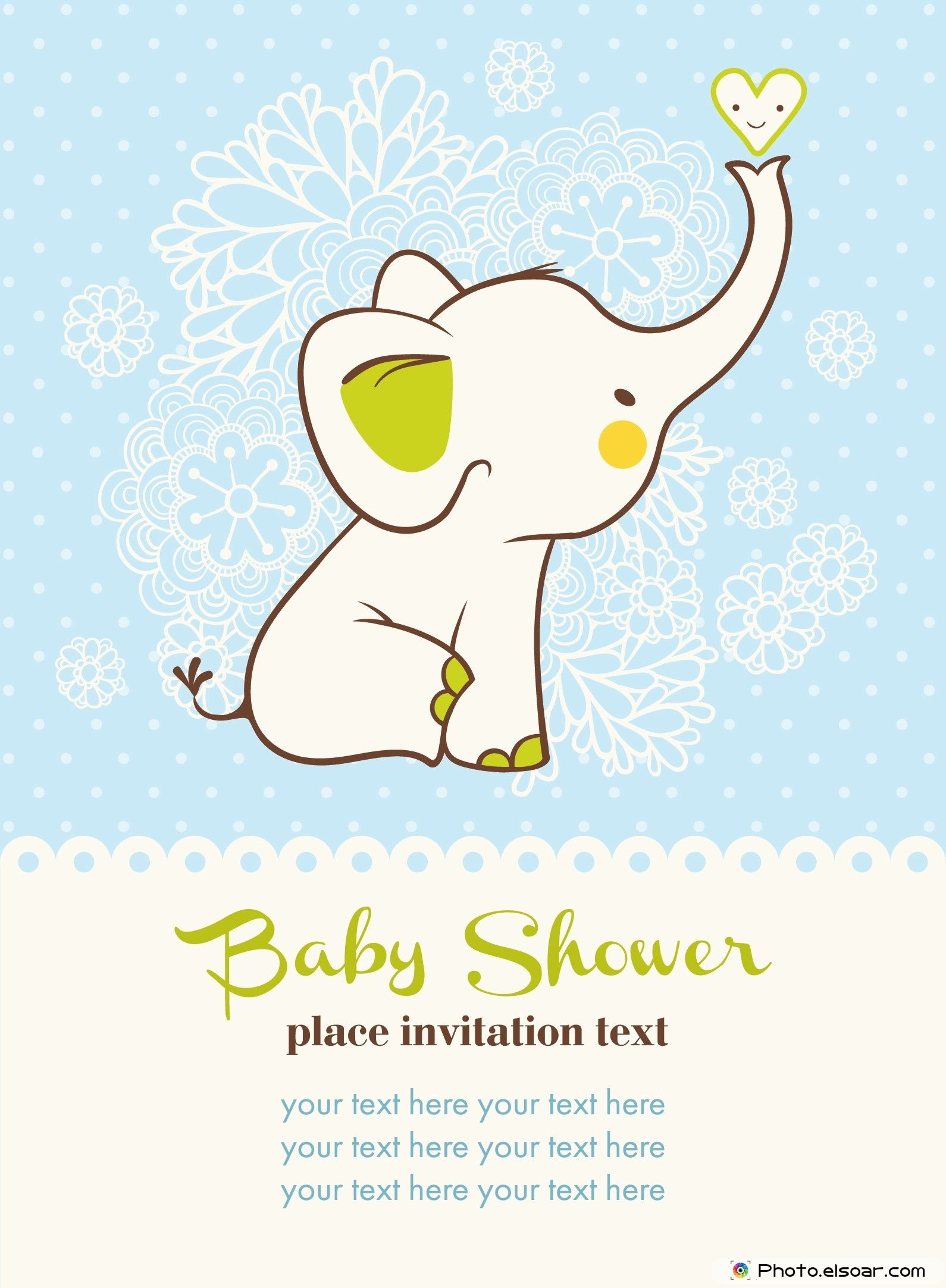 Baby shower Elephant invitation card Christmas DIY