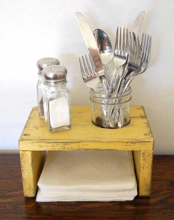 Kitchen Table Organizer Napkin Holder Salt Pepper Mason Jar Earth Yellow