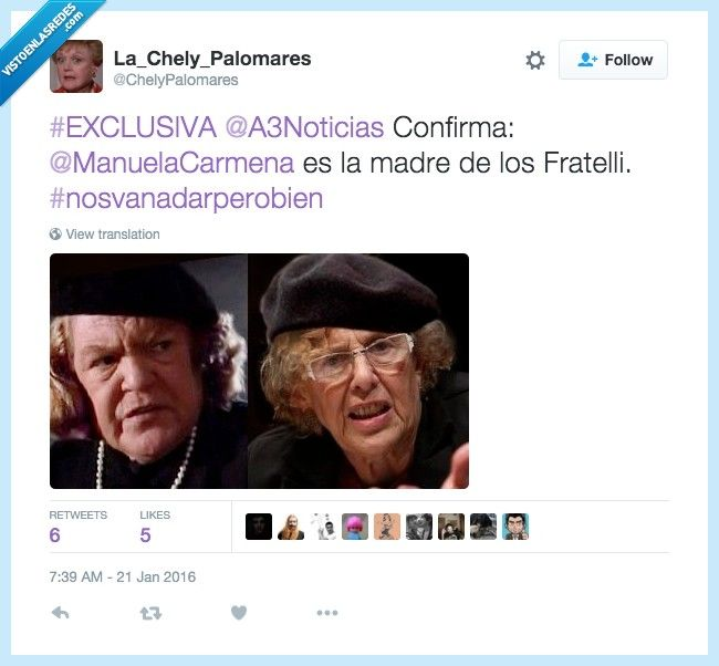 Descubrieron a Carmena por @ChelyPalomares   Gracias a http://www.vistoenlasredes.com/   Si quieres leer la noticia completa visita: http://www.estoy-aburrido.com/descubrieron-a-carmena-por-chelypalomares/
