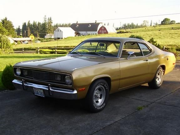 My 4th Car 1972 Plymouth Duster Had An Inline 6 With Automatic Transmission It Was Gold With A 1 2 Alligator Green Plymouth Duster Best Gas Mileage Plymouth