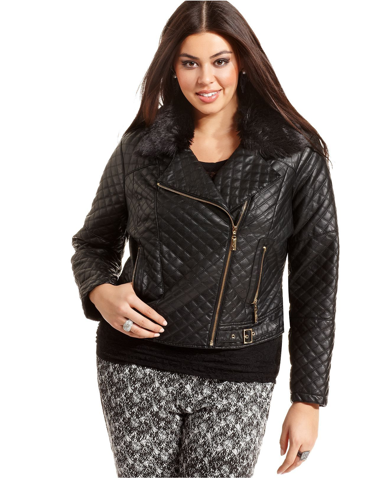 Baby Plus Size Jacket, Faux Leather Quilted Motorcycle