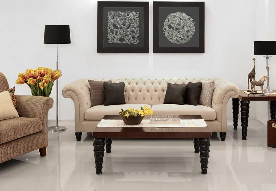 Save off on furniture in natural hues fabric and get free indonesian artworks