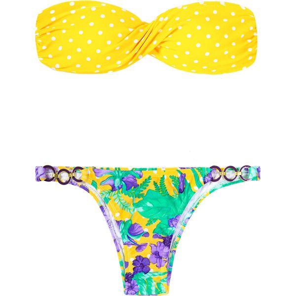 Rio De Sol Bandeau Bikini - Yellow Dots (4.405 RUB) ❤ liked on Polyvore