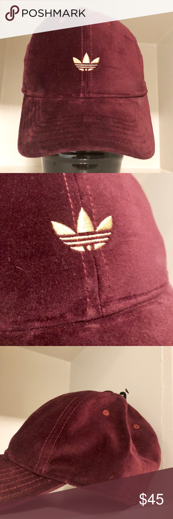 d1181bf05dc •RARE• Adidas VELVET Hat This hat is so cute.... even better in person!  Burgundy velvet with Gold logo. Adjustable Strap adidas Accessories Hats