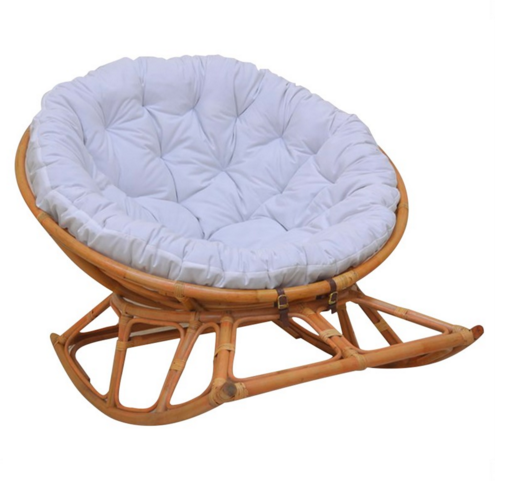 Papasan Rocking Chair White Cover Comfortable With Rattan