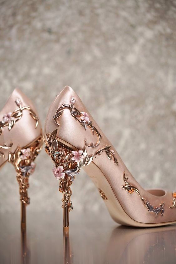 The Eden Eve Pump In Light Pink Satin With Rose Gold Leaves. New  Accessories Collection, As Featured In The Couture Show.
