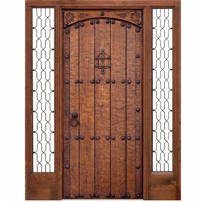 Porte du0027entrée bois massif cotés vitrés c-13 aljibe Puertas