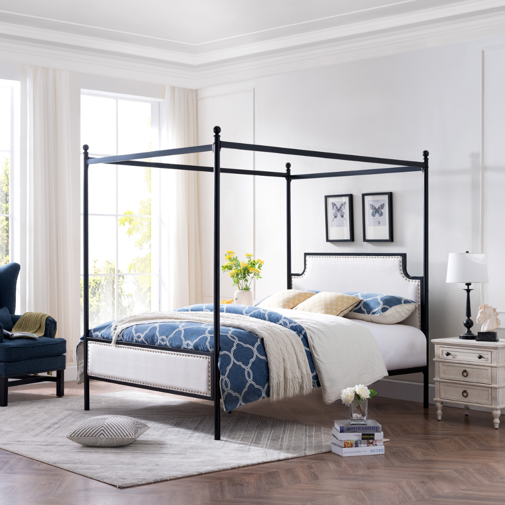 Noble House Kamarie Queen Size Iron Canopy Bed Frame With Upholstered Studded Headboard Beige And Flat Black Walmart Com In 2020 Canopy Bed Frame Iron Canopy Bed Queen Size Canopy Bed
