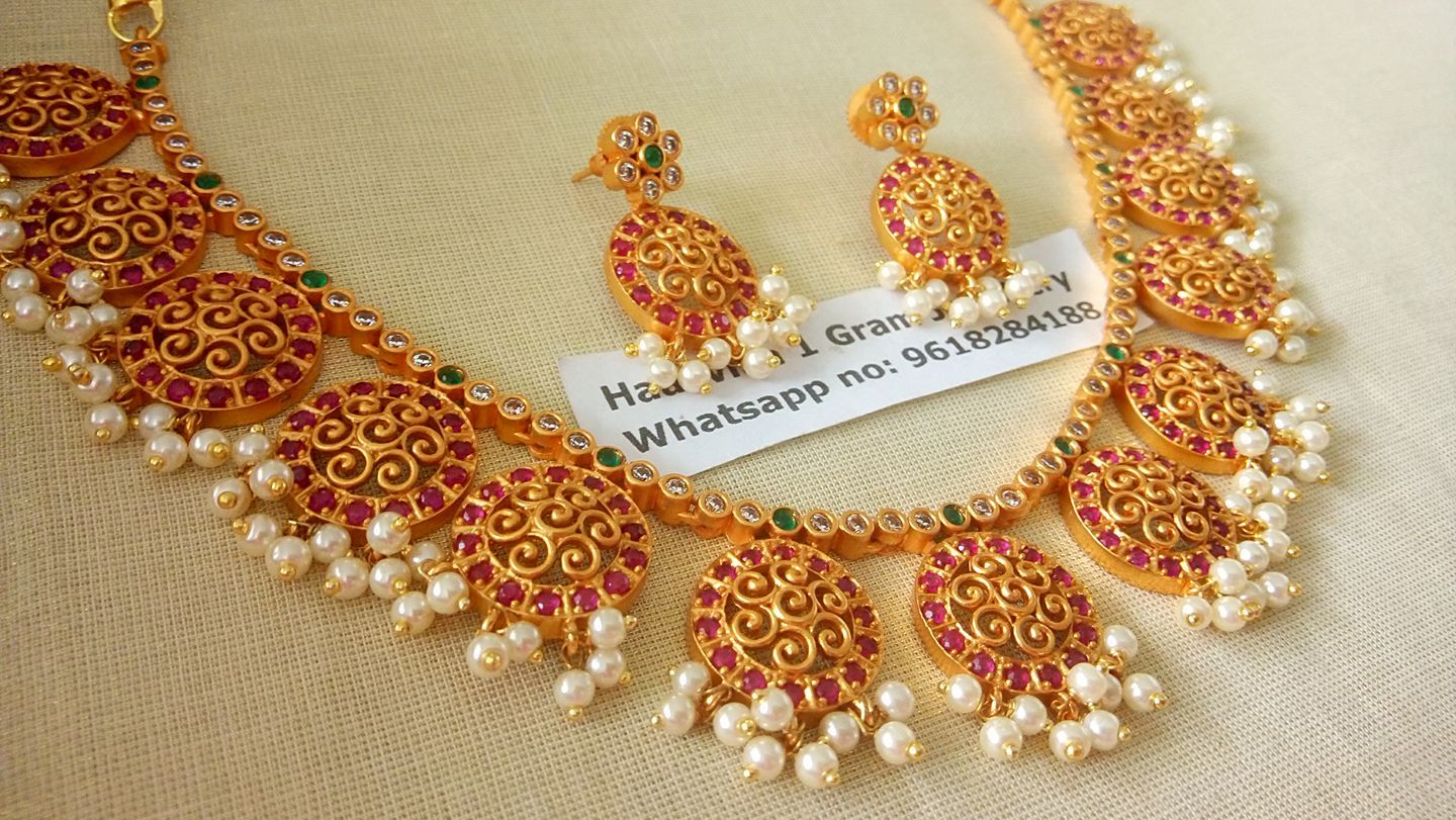 4713accf8381b Price: Rs.2200. Beautiful one gram gold botu necklace studded with ...