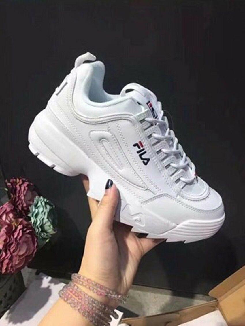 FILA Schuhe niedrig Leder Faux Disruptor schwarz Weiß