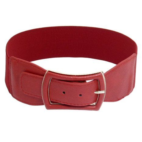 Amazon.com: Allegra K Woman Faux Leather Coated Metal Single Pin Buckle Stretchy Belt Ornament Red: Clothing