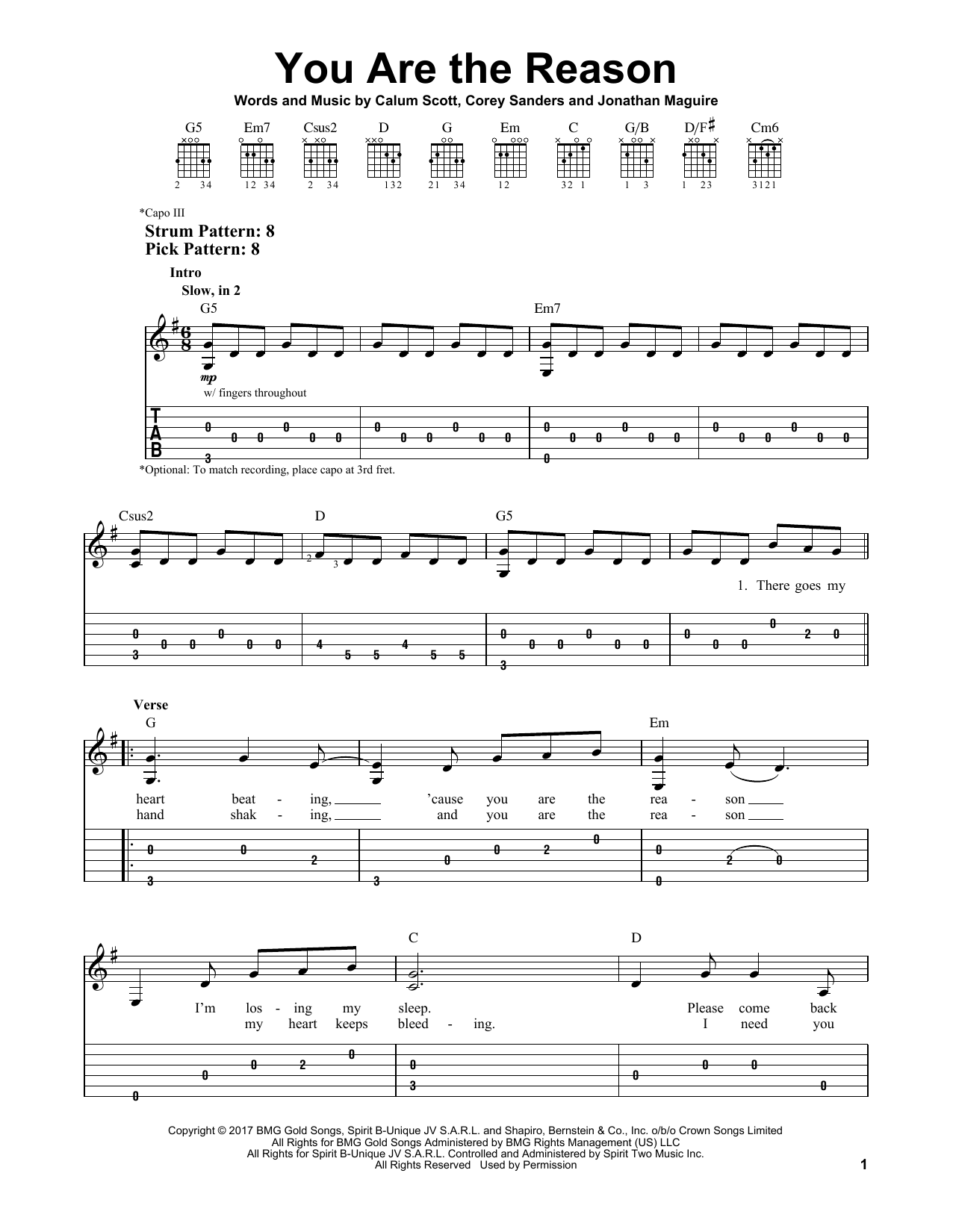 Calum Scott 'You Are The Reason' Sheet Music, Notes & Chords
