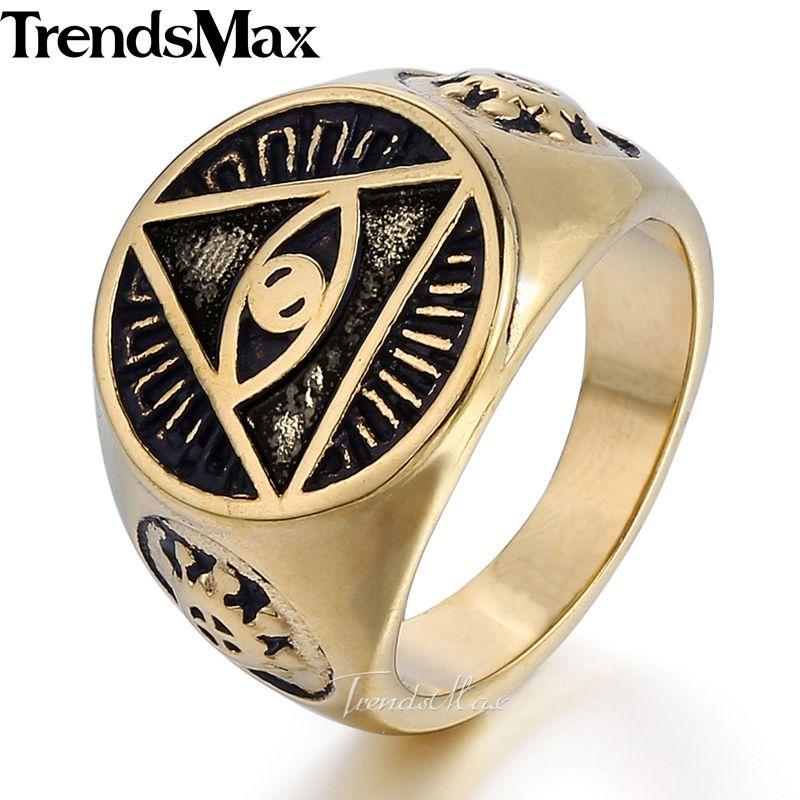 Trendsmax Illuminati Pyramid Eye Symbol Gold color 316L Stainless
