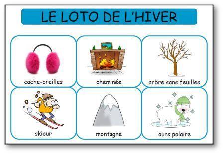 Loto de l 39 hiver loto hiver vocabulaire pinterest la maternelle hiver et cycle - Activite hiver maternelle ...