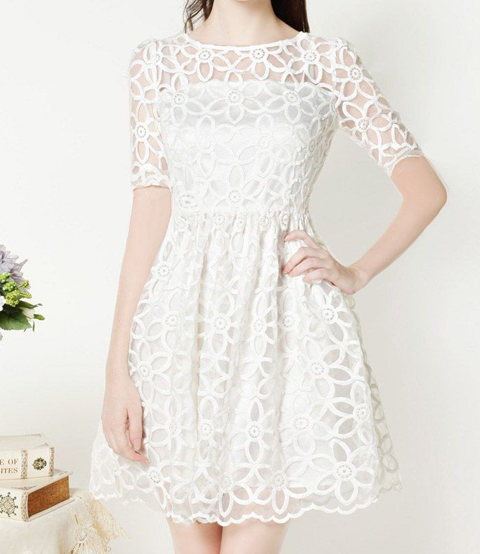 confirmation dress vintage round neck floral pattern short