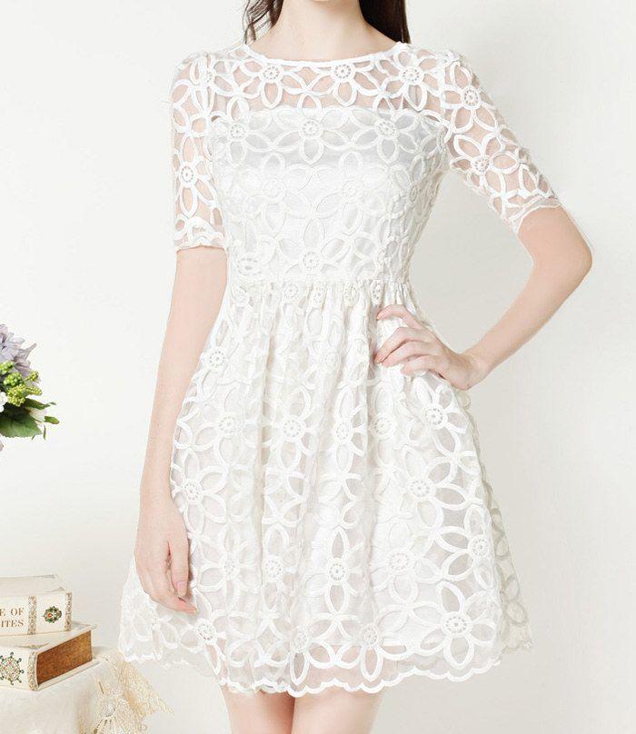 Confirmation Dress Vintage Round Neck Floral Pattern Short Sleeve Women s  White Lace Dress Sammydress.com 9628ec842
