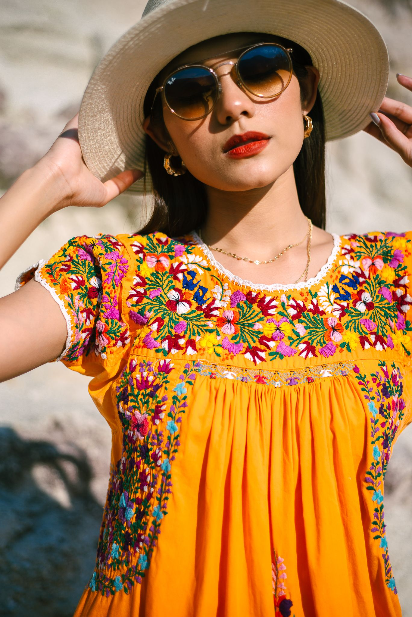Vintage Oaxacan Maxi Dress Mexican Dress With Floral Embroidery Boho Orange Cotton Floral Fiesta Dress Mexican Dresses Fiesta Dress Traditional Mexican Dress [ 2048 x 1368 Pixel ]
