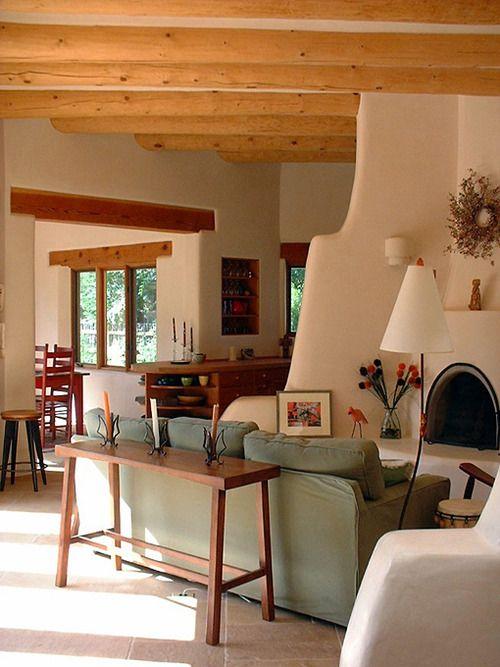 Sante Fe Style Please Adobe House Home Southwestern Home #santa #fe #living #room
