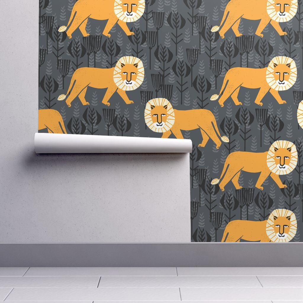 Safari Lion - Turmeric/Charcoal by Andrea on Isobar by andrea_lauren | Roostery Home Decor