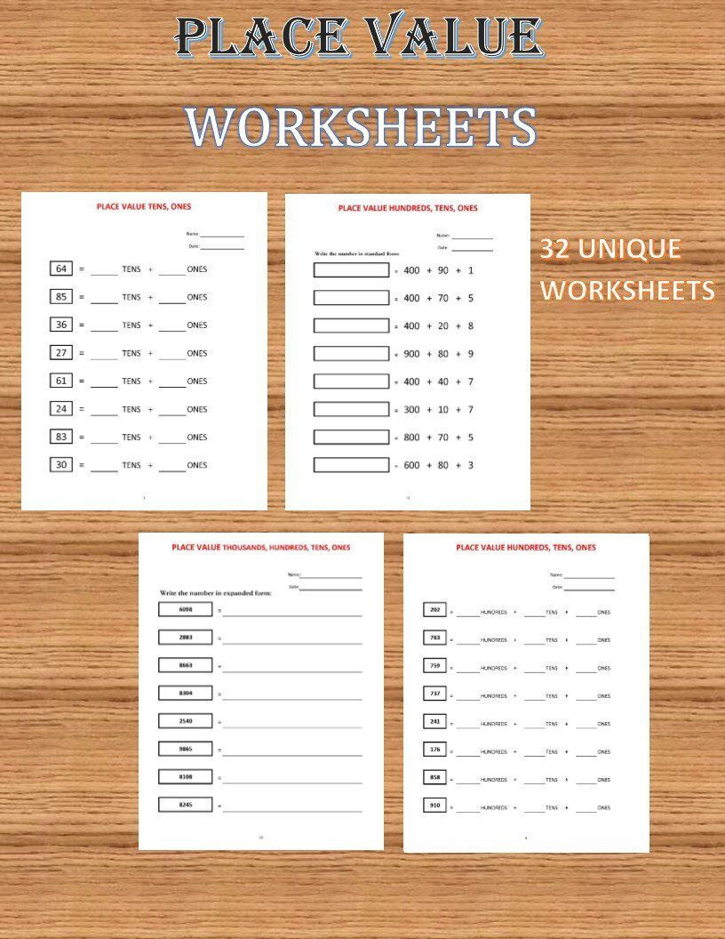 Excited To Share This Item From My Etsy Shop Place Value Worksheets 32 Worksheets Pdf Year 1 2 Place Value Worksheets Kids Math Worksheets Math For Kids [ 1056 x 816 Pixel ]