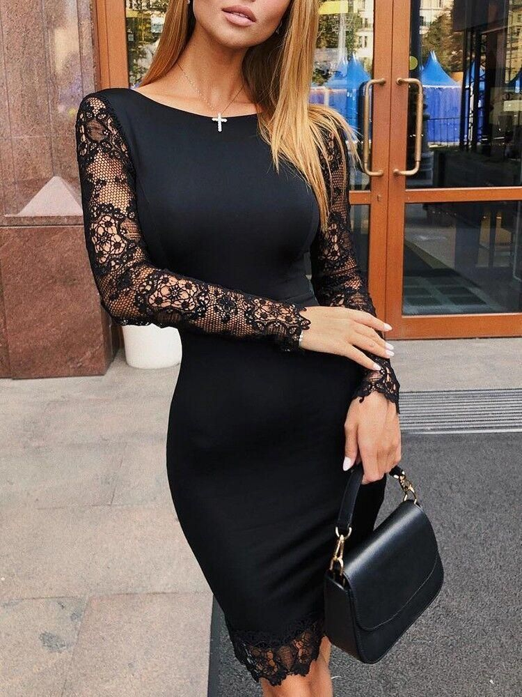 b1eaa27914 Sexy Lace Splicing Round Neck Bodycon Dresses ekkor: 2019 | Fekete ...