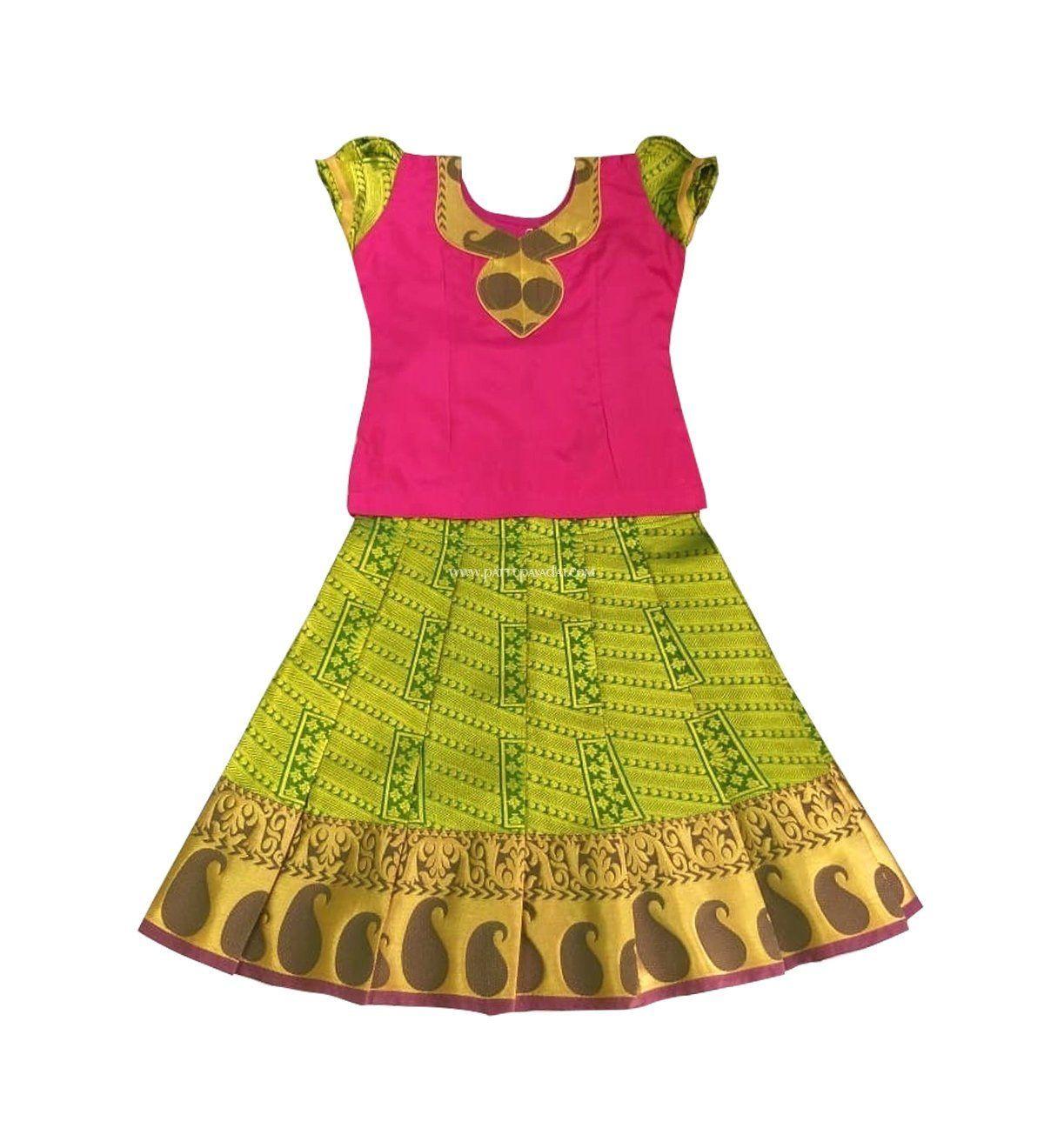 b7895d5c6f8ff Pattu Pavadai Baby Girl's / Kids Pure Silk (Green and Pink; 6 Months - 10  Years) #pattupavadai #lehengacholi #kidsdress #childrendress #babygirldress  ...