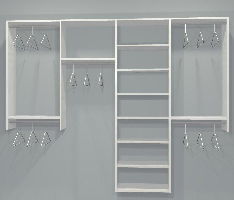 Reach in closet layouts for his and her standard closet kit w shelving 4 sect 6 9 5ft