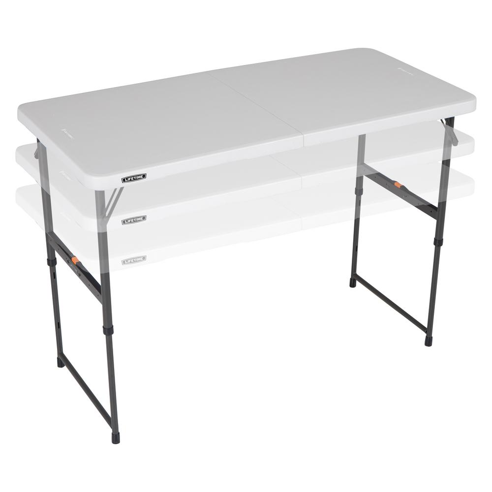 Lifetime 48 In Almond Plastic Adjustable Height Fold In Half Folding Table 80726 The Home Depot Folding Table Adjustable Height Table Half Table
