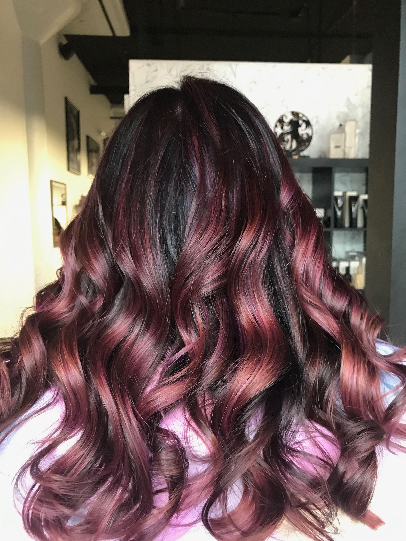 Rose gold mauve balayage hair