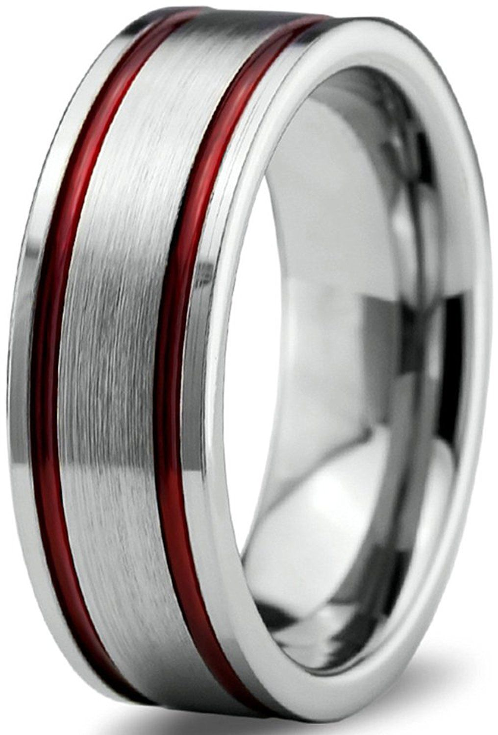 grey tungsten wedding bands Tungsten Wedding Band Ring 8mm for Men Women Red Grey Flat Pipe Cut Brushed Polished