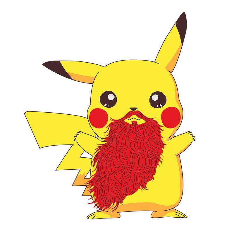 5d41a5ed Beardemon Pikachu Pokemon Beard Men's T-Shirt Men's T-Shirt Cloud City 7 - 3