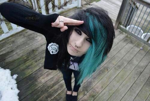 Emo Girl With Black And Blue Hair