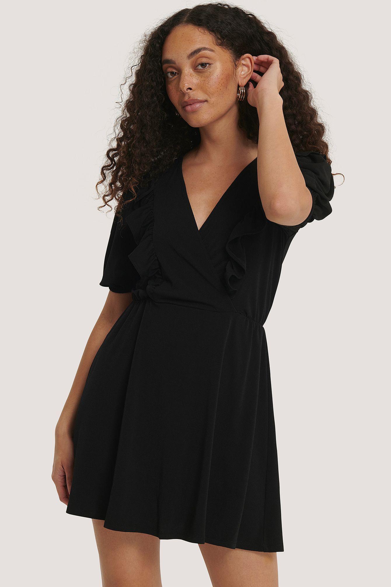 Rüschendetail Mini-Kleid Schwarz in 12  Romantische kleider