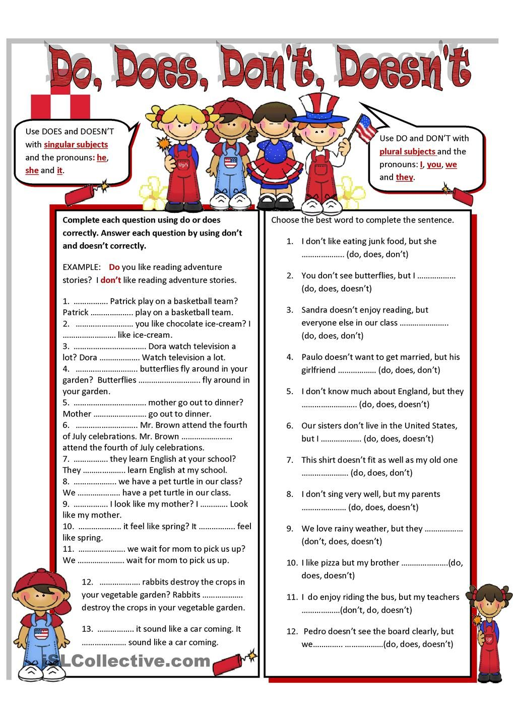 Do Does Don T Doesn T English Teaching Materials English Grammar Exercises Teaching English Grammar [ 1440 x 1018 Pixel ]
