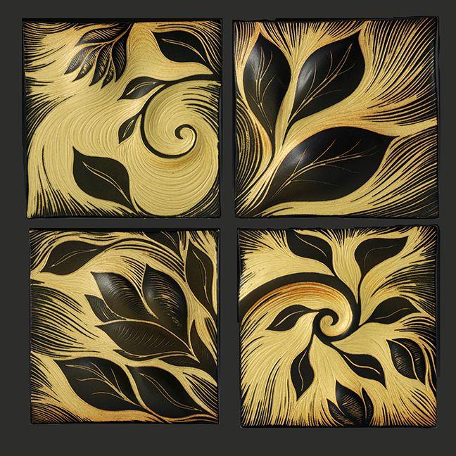 Botanicals in honey glaze. Handmade, sgraffito-carved, ceramic wall ...