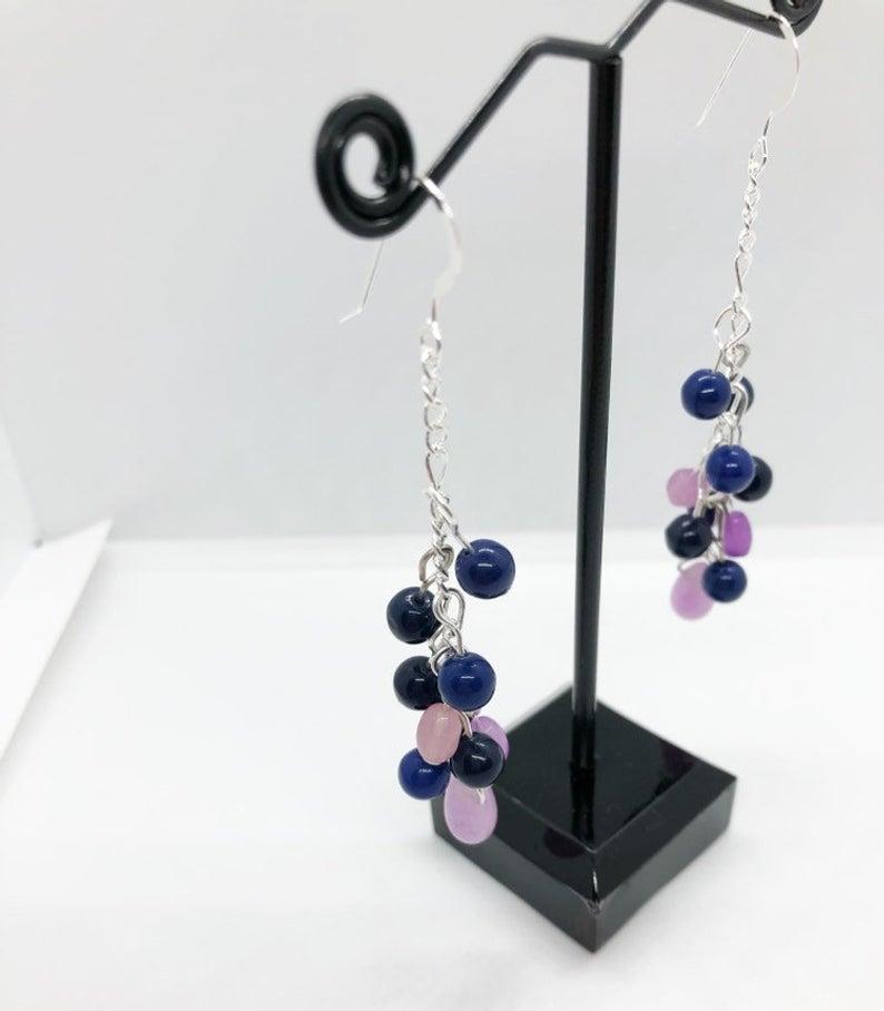 Navy Blue Lavender Beaded Chandelier Earrings Beaded Chandelier Earrings Lavender Earrings Etsy Earrings Dangle