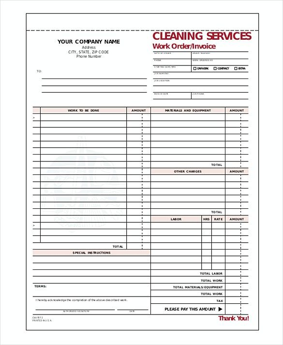 Cleaning Service Company Invoice templates , Cleaning Service - auto shop invoice template